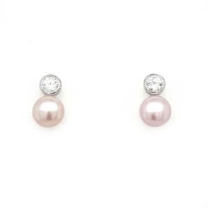 Leon Baker Sterling Silver Pink Freshwater Pearl Earrings_0