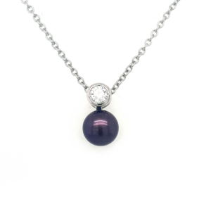 Leon Baker Sterling Silver and Black Freshwater Pearl Pendant_0