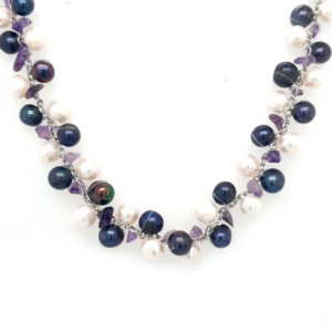 Leon Baker White and Peacock Freshwater Pearl and Amethyst Chip Necklace_0