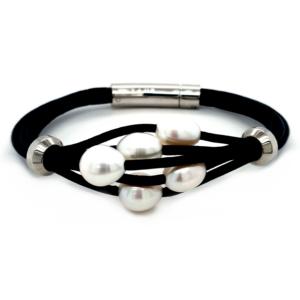 Leon Baker Freshwater Pearl Leather Bracelet_0