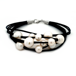 Leon Baker Freshwater Pearl and Leather Bracelet_0
