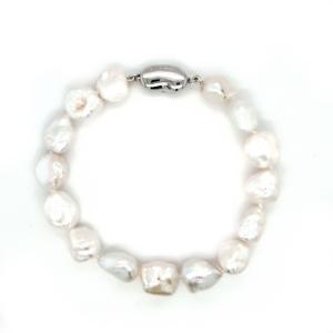 Leon Baker Sterling Silver and Fresh Water Keshi Pearl Bracelet_0