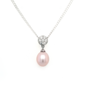 Leon Baker Sterling Silver Pink Freshwater Pearl and Cubic Zirconia Pendant_0