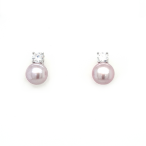 Leon Baker Sterling Silver Pink Freshwater Pearl and Cubic Zirconia Earrings_0