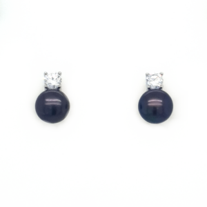 Leon Baker Sterling Silver Black Freshwater Pearl and Cubic Zirconia Earrings_0