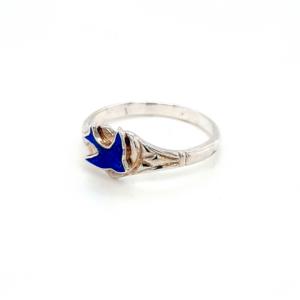 Blue Bird Sterling Silver Heart Signet Ring_1