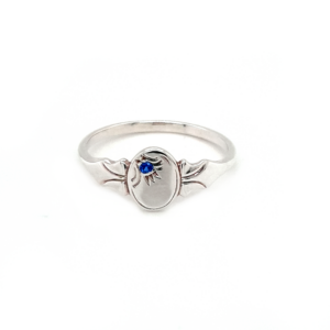 Blue Bird Sterling Silver Signet Ring with Blue Sapphire_0