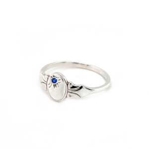 Blue Bird Sterling Silver Signet Ring with Blue Sapphire_1