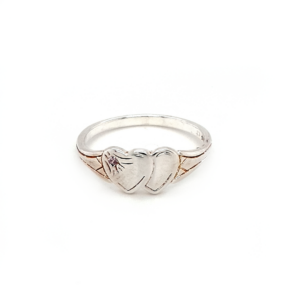Blue Bird Sterling Silver Double Heart Signet Ring with Pink Cubic Zirconia_0