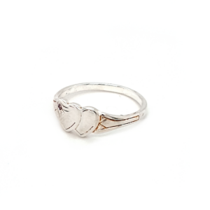 Blue Bird Sterling Silver Double Heart Signet Ring with Pink Cubic Zirconia_1