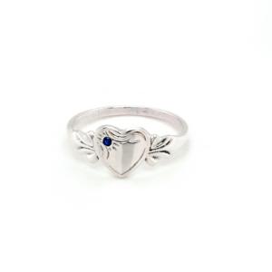 Blue Bird Sterling Silver Signet Ring with September Birthstone_0