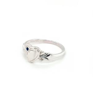 Blue Bird Sterling Silver Signet Ring with September Birthstone_1