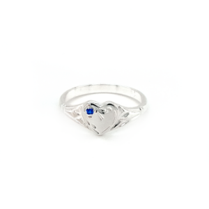 Blue Bird Sterling Silver Heart Signet Ring with Blue Sapphire_0