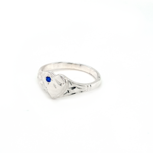 Blue Bird Sterling Silver Heart Signet Ring with Blue Sapphire_1