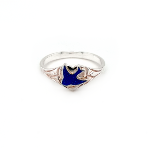 Blue Bird Sterling Silver Heart Signet Ring_0