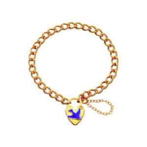 Blue Bird Yellow Gold Plated Padlock Bracelet_0