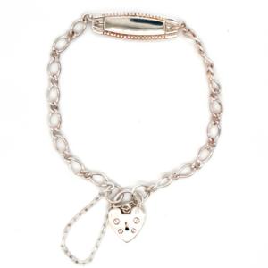 Blue Bird Sterling Silver Baby ID Bracelet with Padlock_0