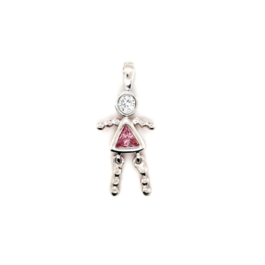Leon Baker Sterling Silver and Pink Cubic Zirconia Girl Charm_0