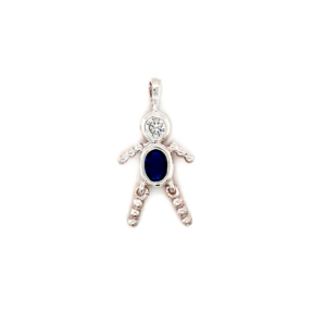 Leon Baker Sterling Silver and Blue Cubic Zirconia Boy Charm_0