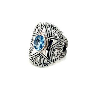 Leon Baker Sterling Silver Blue Topaz Ring_1