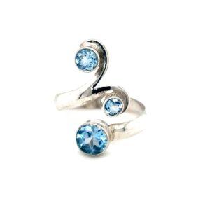 Leon Baker Sterling Silver BLue Topaz Adjustable Ring_0