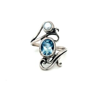 Leon Baker Sterling Silver Blue TOpaz And Sea Pearl Ring_0