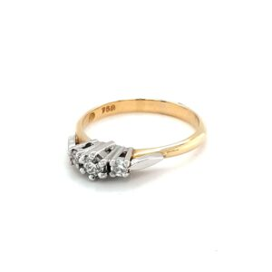 Leon Bakers 18K Yellow Gold Ring with White Gold Trilogy Setting_1